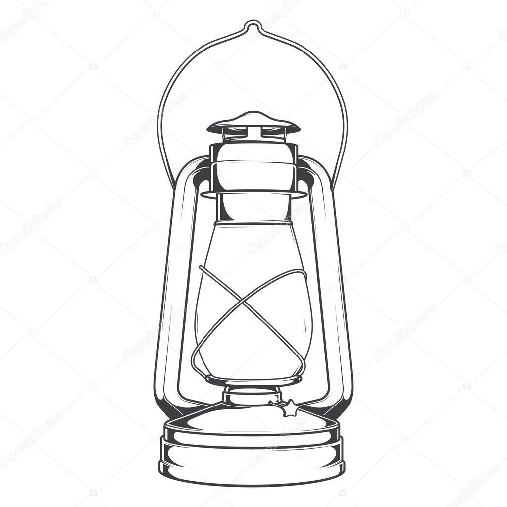 depositphotos_57758493 Antique Old Kerosene Lamp isolated on a white background