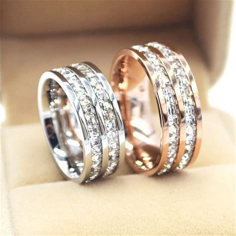 Silver/Rose Gold Titanium Steel Double Row CZ Rings for