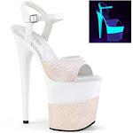 """FLAMINGO-809-2G, 8"""" Heel 4"""" Platform Ankle Strap Sandal Opal Glitter / Size 7"""