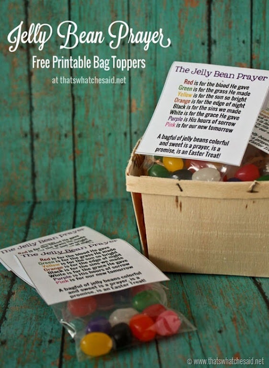 Jelly Bean Prayer Free Printable Bag Topper