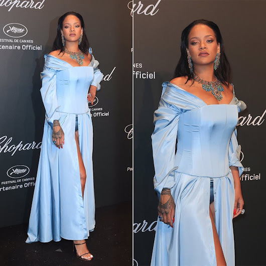 Rihanna at Chopard Cannes Party in Adam Selman - Haus of Rihanna
