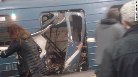 (170403) -- ST PETERSBURG, April 3, 2017 (Xinhua) -- The photo taken on April 3, 2017 shows the blast site at a metro station in St. Petersburg, Russia. At least 10 people were killed, 50 injured and 7 stations were shut down after blasts. (Xinhua/vk.com/car crash and accident in St. Petersburg) (gl) (Newscom TagID: xnaphotos738861.jpg) [Photo via Newscom]