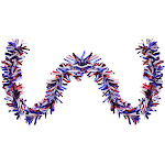 25' Red White and Blue Wide Cut Tinsel 4th of The July Garland - Unlit