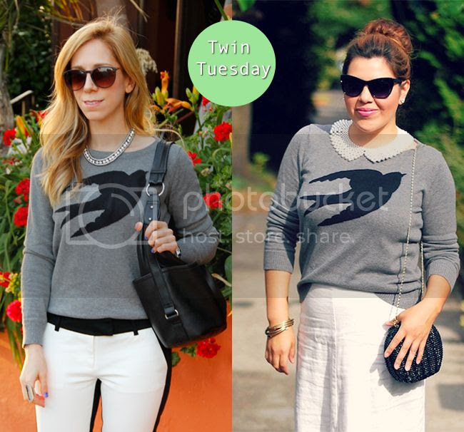 fashion bloggers wearing Target Mossimo bird swallow print sweater, Twin Tuesday blogger feature