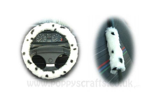 Dalmatian Dog Spot fuzzy car steering wheel cover and seatbelt pad set – Poppys Crafts