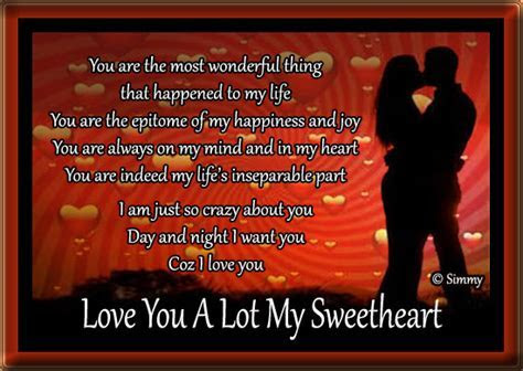 Love You A Lot My Sweetheart. Free Romance Day eCards
