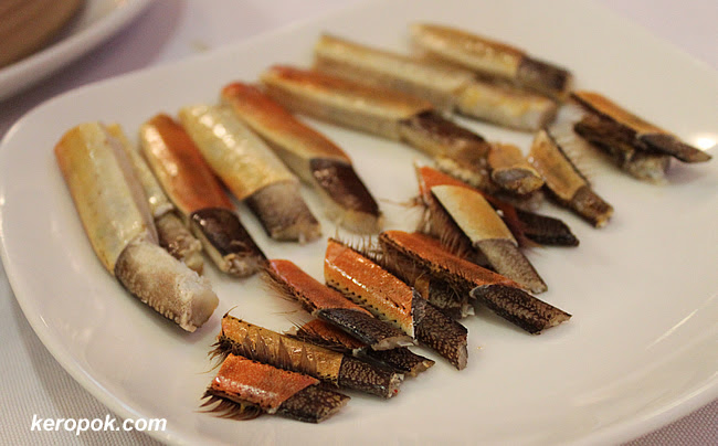 The crab legs all presented nicely for us