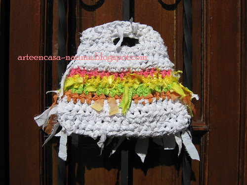 Crochet fabric bag