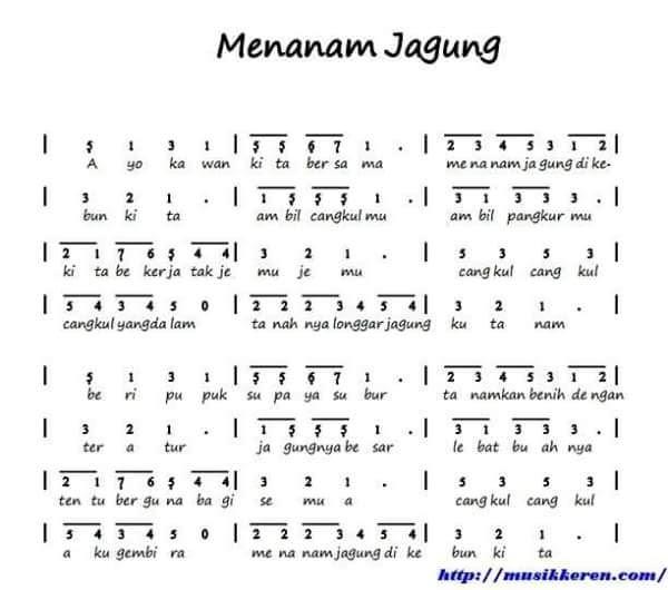 Lirik Lagu Menanam Jagung Dan Not Angka Download File Guru