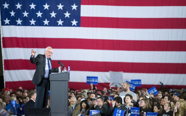 Bernie Sanders speaks at a campaign rally on March 26, 2016 in Madison, Wisconsin.