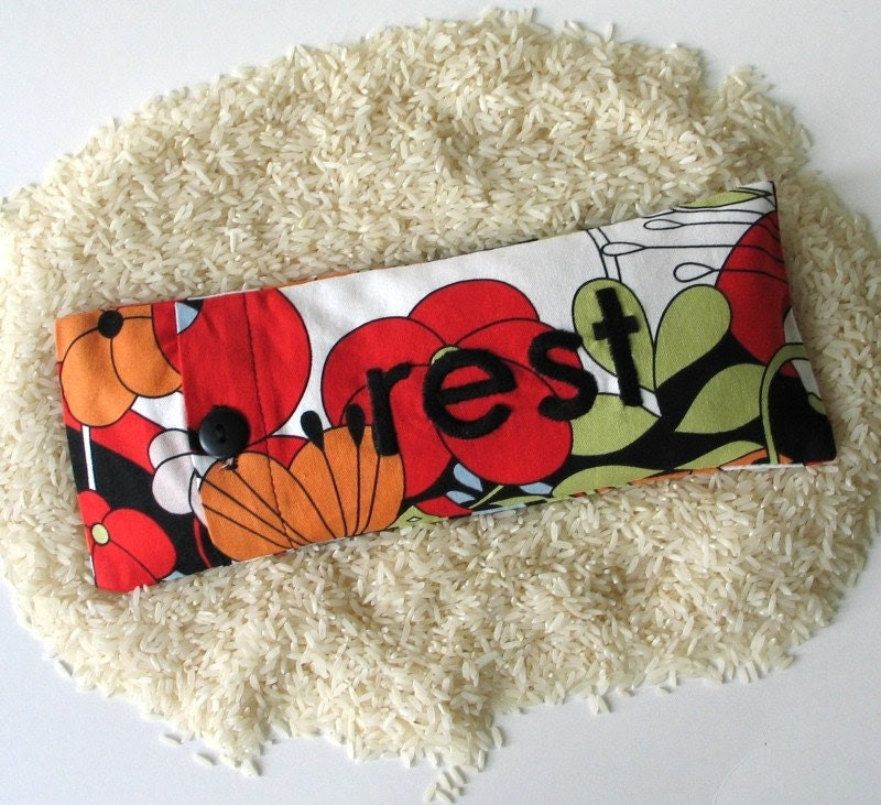 rest - hand embroidered eye pillow or sleep mask