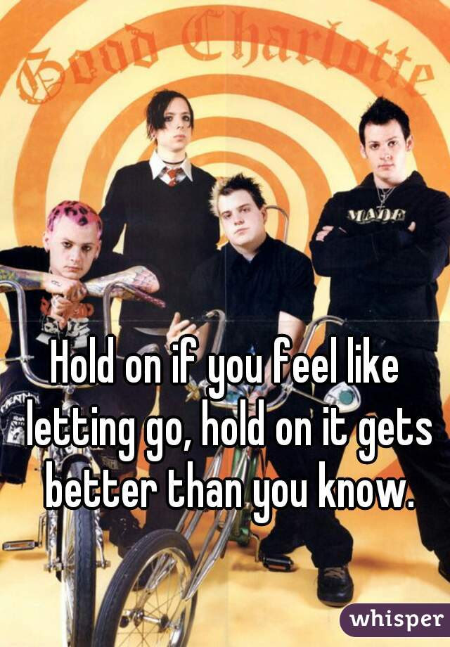 Hold On If You Feel Like Letting Go Hold On It Gets Better Than You