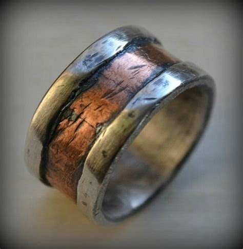 mens wedding band rustic fine silver   rose gold