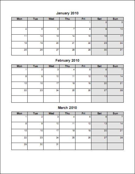 free printable 3 month calendar template_167596