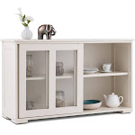 Gymax Storage Cabinet Sideboard Buffet Cupboard Glass Sliding Door Pantry Kitchen New