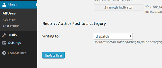 Restrict author category