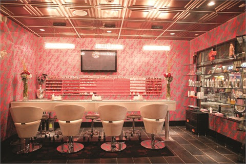 <p>Ki Nail Bar (shown) in Los Angeles is the girly Japanese sister of Chi Nail Bar in Beverly Hills. The wallpaper pattern used in both salons is identical, but at Ki its color is unabashedly pink, a distinction from Chi&rsquo;s earth tones.</p>