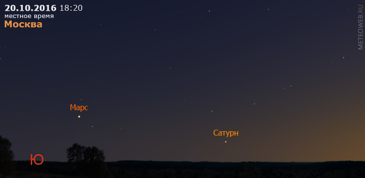 Сатурн и Марс на вечернем небе Москвы 20 октября 2016 г.