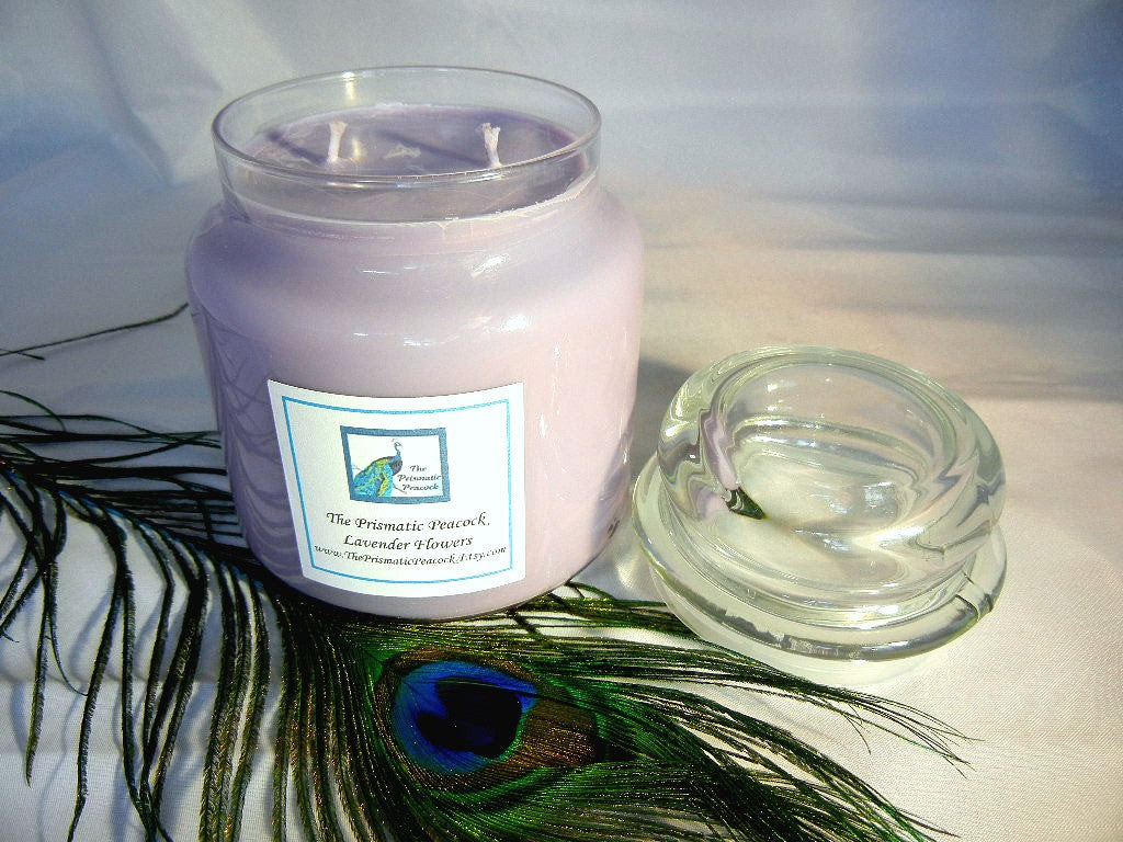 Lavender Flowers Scented Soy Candle 20oz Apothecary Jar Dome Top Lid P