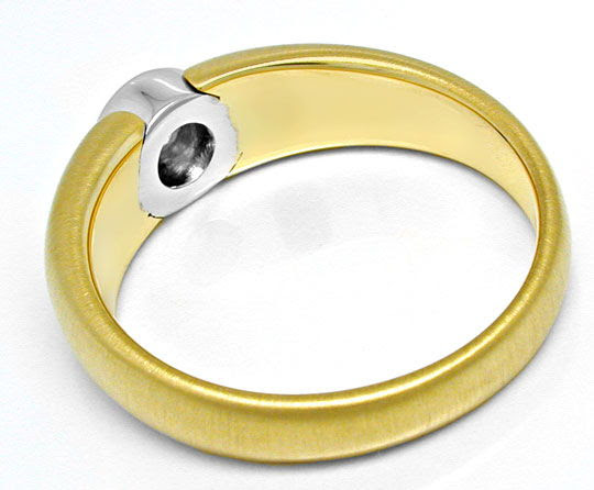 Original-Foto 3, BRILLANT-SOLITÄR-BAND-RING RIVER BICOLOR 18K LUXUS! NEU