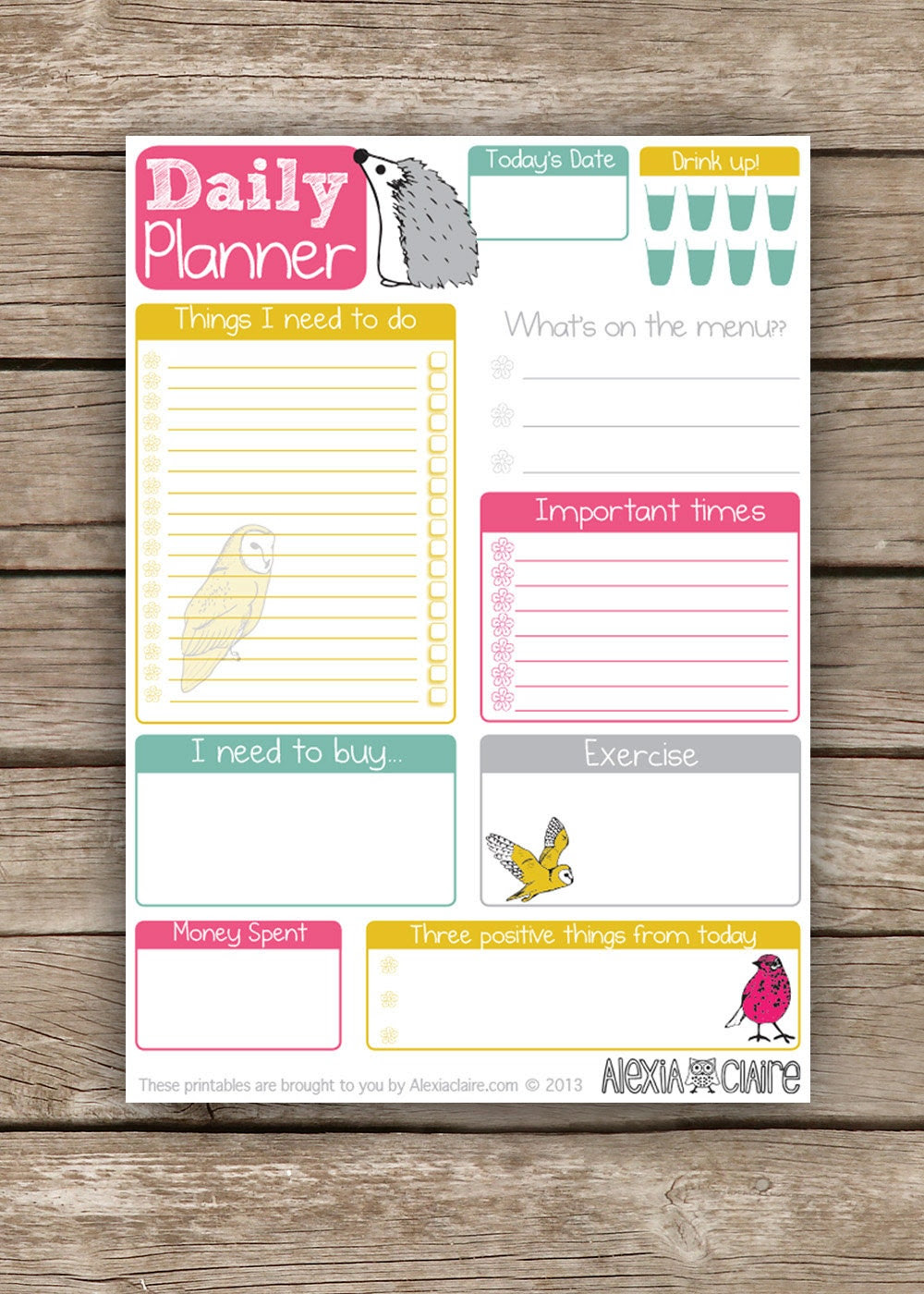 Daily Planner Cute hand drawn animal illustrated by AlexiaClaire