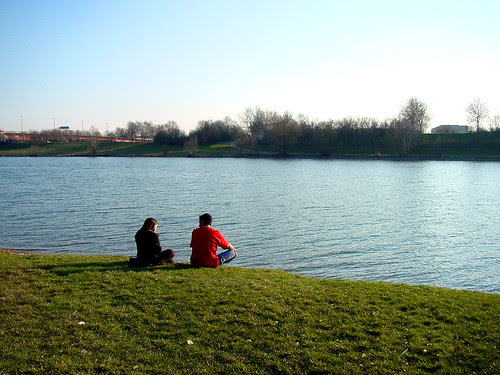 couple on a riverbank