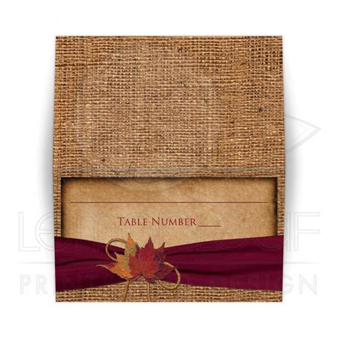 Rustic Folded Wedding Place Card or Escort Card   Autumn
