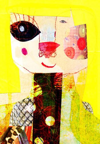 Jacinthe Chevalier dessin collage jaune yellow nez de chien dame femme fille