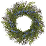 Nearly Natural Cedar with Blue Berries Artificial Wreath | ShopLadder