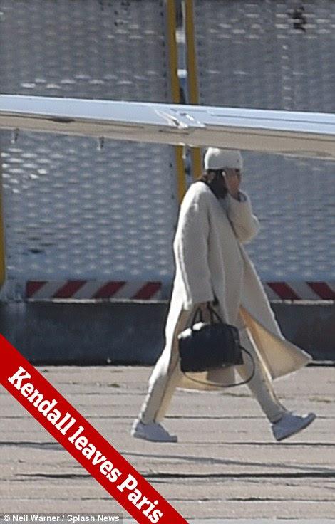 Kendall Jenner voou de Paris por horas jato particular depois de sua irmã Kim partiu