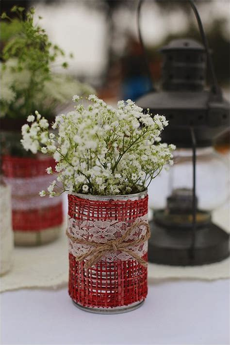 Rustic Country Wedding   Jars, Lace and Centerpieces