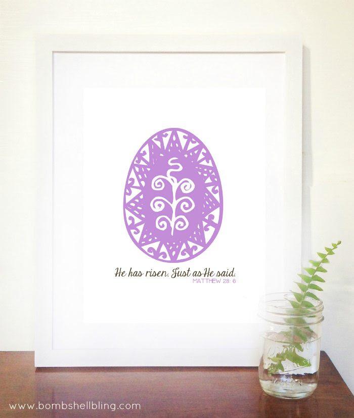 He Has Risen Easter Printable by Bombshell Bling