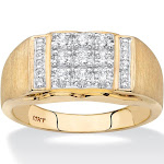Men's 1/2 TCW Diamond 10k Yellow Gold Grid Ring