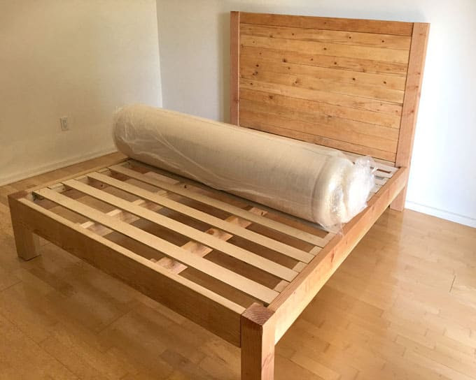 Diy Bed Frame And Wood Headboard A Piece Of Rainbow