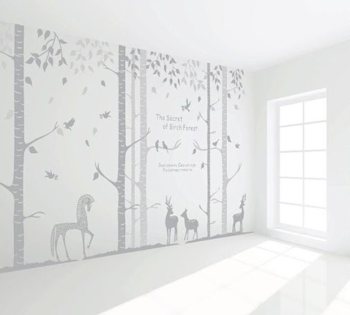 Unique Birch trees forest GRAY Removable wall decor which looks great for my living room! #Removable...