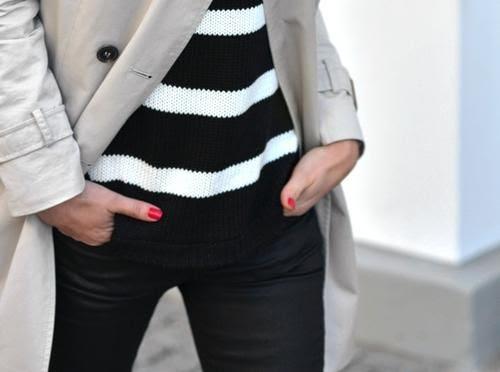 bold black + white stripes / coated denim / trench