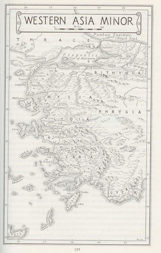 Map Dodecanese Islands and Western Asia Minor