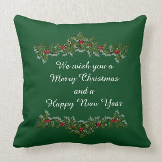 Green and Red Merry Christmas Throw Pillow