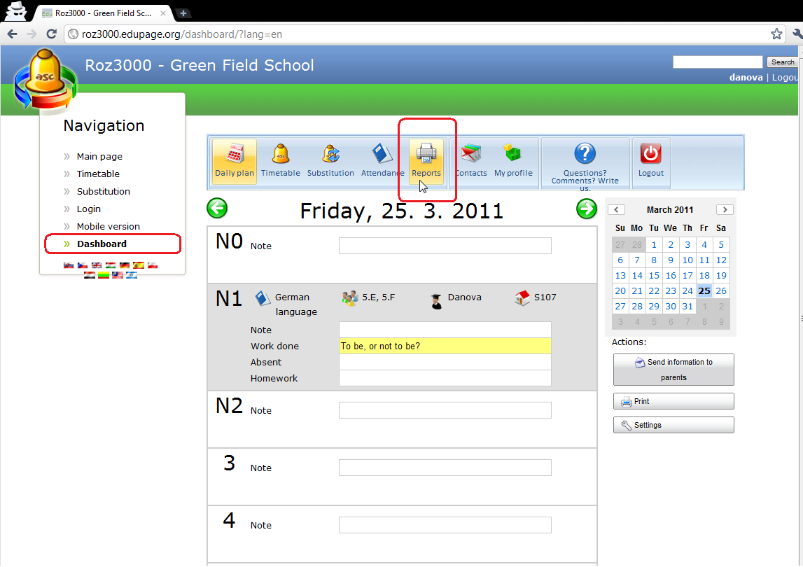 Daily plan - Reports - aSc Timetables