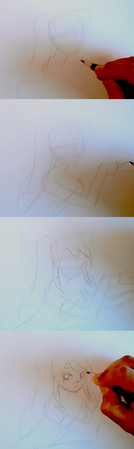 draw Miku Volcaloid step 1