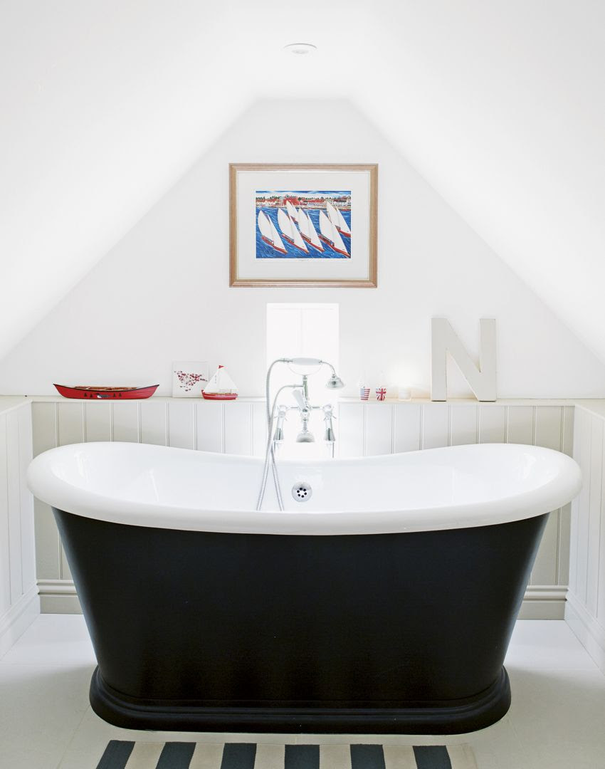 White Attic-space Bathroom with Boat Bath and Nautical Theme