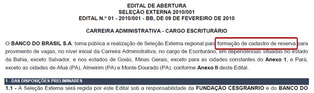 edital banco do brasil cadastro reserva