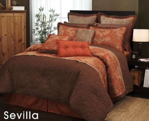 Full Size Bed In A Bag 7 Pieces Traditional Orange And
