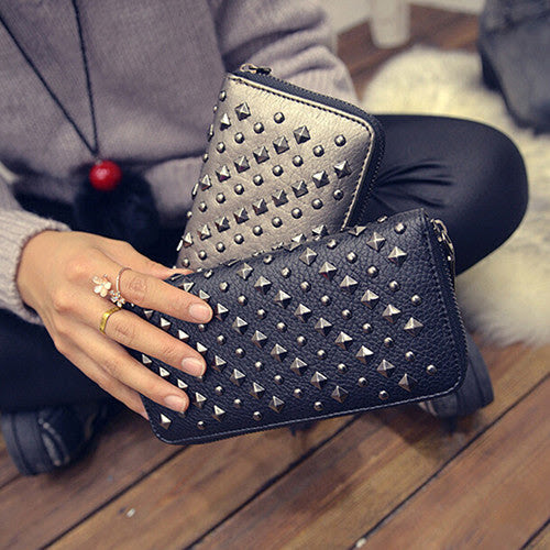 Women Punk Style Faux Leather Clutch Wallet