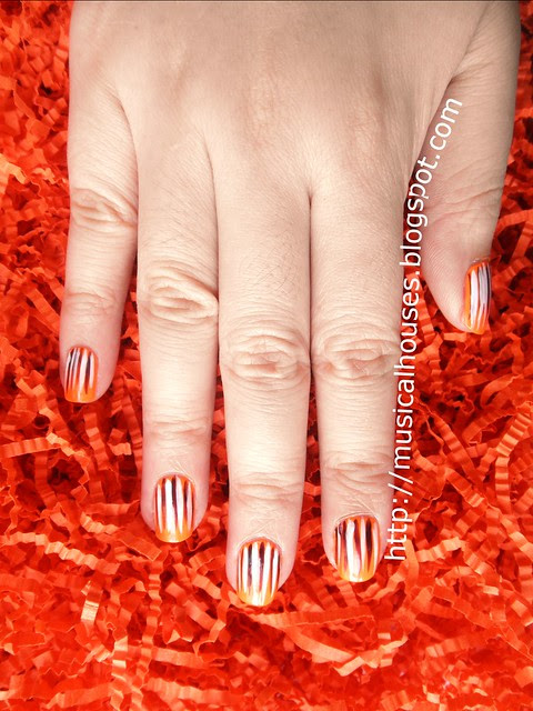 halloween nail art orange purple white stripes 2