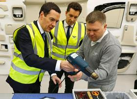 George Osborne and Edward Timpson at Bentley Motors