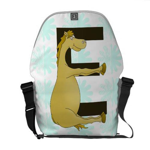 Cute Cartoon Pony Monogram E Messenger Bag