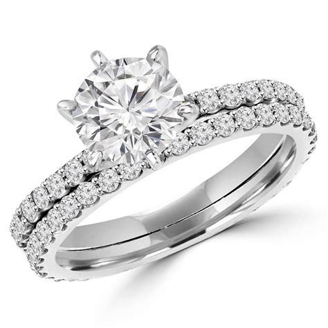 Round Cut Diamond Multi Stone 6 Prong Engagement Ring