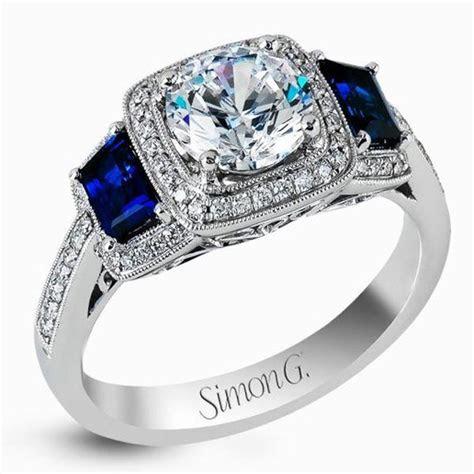 simon  halo diamond sapphire engagement ring