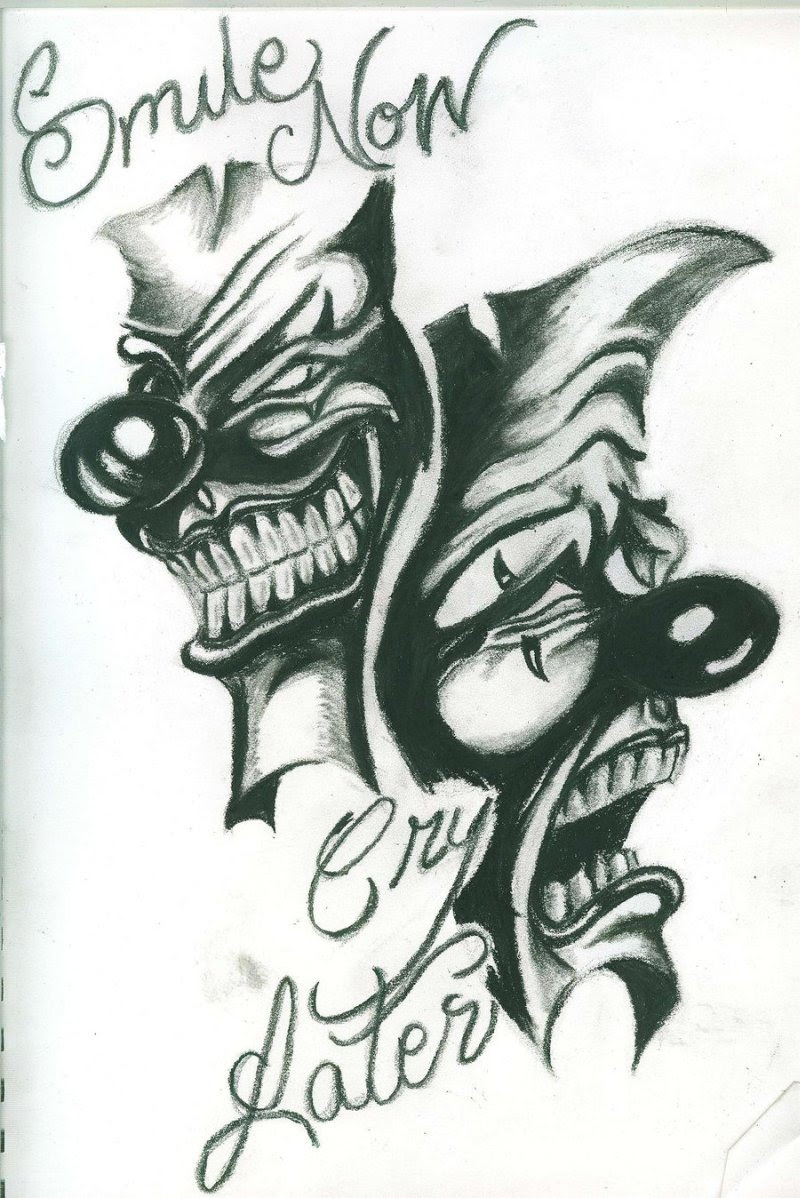 Smile Now Cry Later Clown Tattoo Design Tattoos Book 65000